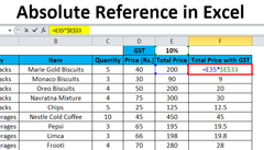 Absolute cell reference (Excel)