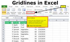 Gidslyntjies (gridlines – Excel-werkblad)