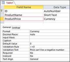 Valideringsteks (Validation Text – Access)