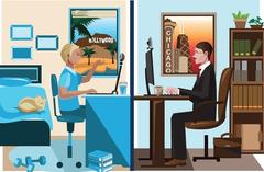 Telependel (tele-commuting)