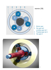 - in the Ravigneaux set two different planetary sets - 4 shafts -- sun gear and planetary gear carrier of the two planetary gear sets can be connected via clutches - kinematic degree of freedom of 2 --> two speeds are spedivied, all other speeds ...