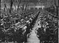 It was the combination of social and economic changes brought about by the extensive use of machinery during production, especially in Great Britain in the 18th and 19th centuries.