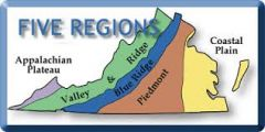 1. Coastal Plain (Tidewater) 2. Piedmont 3. Blue Ridge Mountains 4. Valley & Ridge 5. Appalachian Plateau