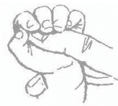 Birth to 4 months Stimulus: Pressure in palm on ulnar side of hand Response: Flex of fingers causing strong grip