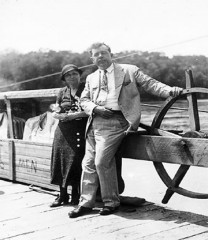 Identify the woman and man on the Arkansas ferry who were campaigning for her election as a U.S. Senator in 1932.  (Give first and last names)