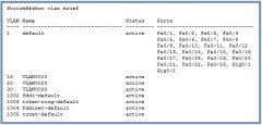 Shows vlan, status, and ports configured to what vlan, it also shows names of vlan's