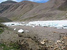 A type of ice formation caused by the repeated freezing of successive groundwater flows.