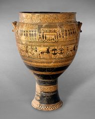 A large vase used to mix wine and water in Ancient Greece.
