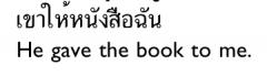 "- no preposition   - ""speak to"" usesthe preposition kàp ('with')"