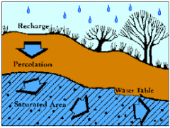 an area of the earths surface from which water percolates down