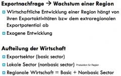Wie wachsen Regionen? Idee: Regionen wachsen nur über Exporte -> neues Kapital