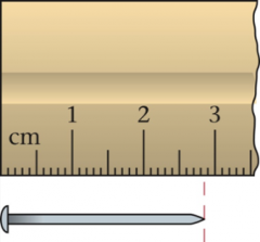 Choice #1 is the correct answer. The first digit is certain since the nail clearly lies between the 4 and 5 cm graduations. The second digit is estimated since you're estimating between the graduations.
