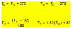 Choice #2 is correct.  (102 – 32) / 1.80 = 39°C 39 + 273 = 312 K