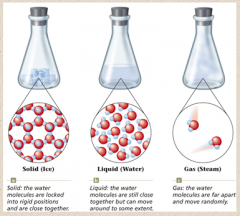 Three States of Water – In all three phases, water molecules are still intact; (MOTIONS) of molecules and the (DISTANCES) between them change.