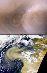 Top: Mars      Bottom: Earth