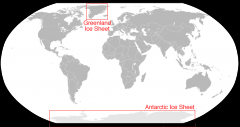 The Antarctic Ice Sheet: 5.4 million square miles, contains 7.2 million cubic miles of ice.  The Greenland Ice Sheet: 656,000 square miles, covering most of the island of Greenland in ice.