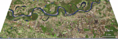 What are the characteristics of meander scars and oxbow lakes on the floodplains of meandering rivers?
