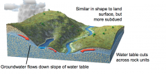 -Water table has a similar shape to land surface, but is more subdued  -Groundwater flows down the slope of the water table  -Shape of water table mostly independent of rock units, but rock types  influence how fast groundwater flows...