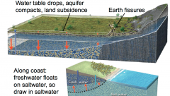 •As water table drops, the aquifer compacts, causing subsidence of land surface •Fissures form along boundaries between more and less subsidence •Along coast, freshwater floats on saltwater, so overpumping can draw saltwater into...