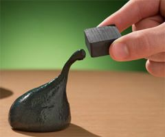 The magnetic putty can be torn, moulded, bent and so much more. But when it gets near a strong magnet it can be pulled and can also swallow the magnet whole. This magnetic putty could be used as a fridge magnet for example.
