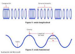 Cresta: es el punto más alto en una onda. Valle: es el punto más bajo de la onda. Amplitud: se nombra así a la distancia que hay entre una cresta o valle de una onda y la linea de equilibrio. La longitud: la distancia entre dos crestas o ent...