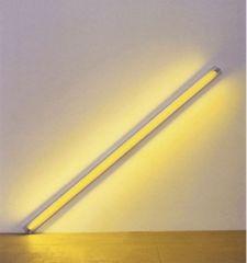 "Dan Flavin, ""The Diagonal of May 25, 1963 (To Constantin Brancusi)"" 1963. Fluorescent light bulb and fixture."