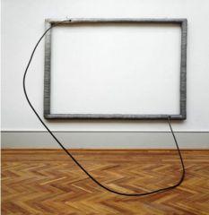 """Eva Hesse, """"Hang Up"""" 1966. Acrylic on cloth over wood; acrylic on cord over steel tube."""