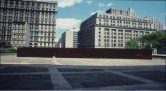 """Serra, """"Tilted Arc"""" 1981. Rusted painted steel."""