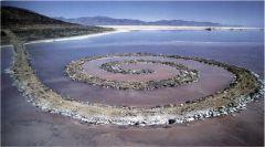 "Robert Smithson, ""Spiral Jetty"" 1970. Rock, salt, crystals, and water."
