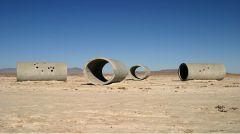"""Nancy Holt, """"Sun Tunnels"""" 1973-76. Concrete tubes."""