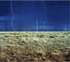 """Walte de Maria, """"Lightning Field"""" 1971-77. Stainless steel poles."""