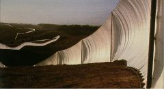 """Christo and Jeanne-Claude, """"Running Fence"""" 1972-76. Metal runners with white fabric."""