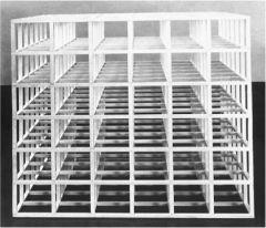 "Sol LeWitt, ""Open Modular Cube"" 1966. Painted wood."