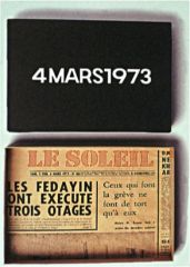 """On Kawara, """"4 March 1973"""" 1973. Acrylic on canvas; newspaper lining on a wooden box."""