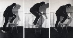 """Vito Acconci, """"Step Piece (Steps: Stepping-Off Piece)"""" 1970. Performance."""
