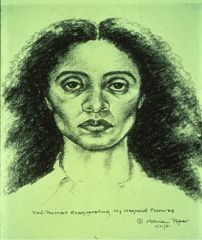 """Adrian Piper, """"Self Portrait Exaggerating My Negroid Features"""" 1981. Pencil drawing."""