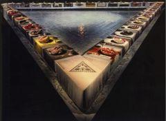 "Judy Chicago, ""Dinner Party"" 1974-75. Mixed media installation."