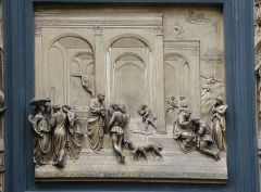 GATES OF PARADISE   Lorenzo Ghiberti   east doors   set of baptistery doors   used a new technique   people in the panels   foreground and background   perspective   linear perspective   the way the people are standing   li...