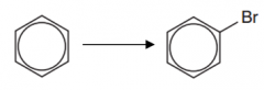 Benzene to bromobenzene (Type of reaction, reagent, catalyst and conditions)