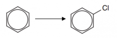 Benzene to chlorobenzene (Type of reaction, reagent, catalyst and conditions)