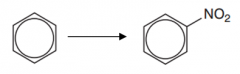 Benzene to nitrobenzene  (Type of reaction, reagent, catalyst and conditions)
