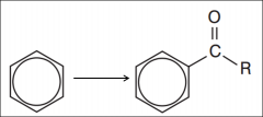 Benzene to an acyl group (Type of reaction, reagents, catalyst and conditions)