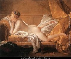 """- most closely associated with Parisian Rococo painting after Watteau's death -painted the """"Girl Reclining: Louise O' Murphy (painted in 1751) -became the First Painter to King Louis XV in 1765"""