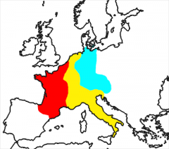 Which of Louis the Pious's sons inherited the blue area on this map?
