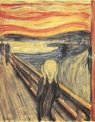 """- """"The Scream"""" -1893 -German expressionism, isolated and terrified, abstruse in selective details, elongated head- parallel to open mouth, curvilinear form interrupted by bridge, human is alone, """"colors were screaming"""