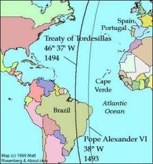 Es un acuerdo entre los reyes de Portugal y de Castilla, por el que delimitan sus zonas de expansión en el Atlántico en un meridiano situado a 370 leguas al oeste de las islas de Cabo Verde.  A raíz del primer viaje de Colón, que dice haber ...