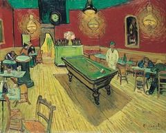 """-""""The Night Cafe"""" 1888 [""""blood red and acid yellow"""" contrast of red and free, LIGHT = functions expressively, golden light, not naturalistic, SPACE = recession, tilt in the room, uneasy, receding lines, COLOR = strong contrast, BRUSH STROKES= am..."""