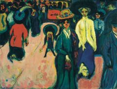 -1913 -Street, Berlin -German expressionism, formal elements of expressive color, isolation in the city, sharp rigid figures and visible brush strokes