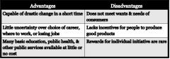 Which type of economic system does the information in the above table describe?