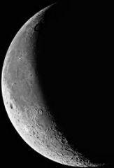 A crescent moon is part way between a half moon and a new moon, or between a new moon and a half moon.